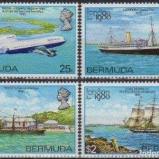 Sellos: BERMUDA 1980 IVERT 383/86 * EXPOSICIÓN FILATELICA INTERNACIONAL - BARCOS Y AVIONES. Lote 189750032