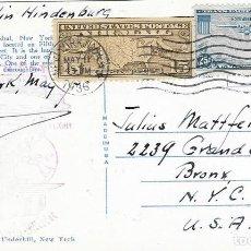Sellos: ZEPPELIN 1936 HINDENBURG TARJETA CIRCULADA DESDE FRANKFÜRT A NUEVA YORK. Lote 190384607