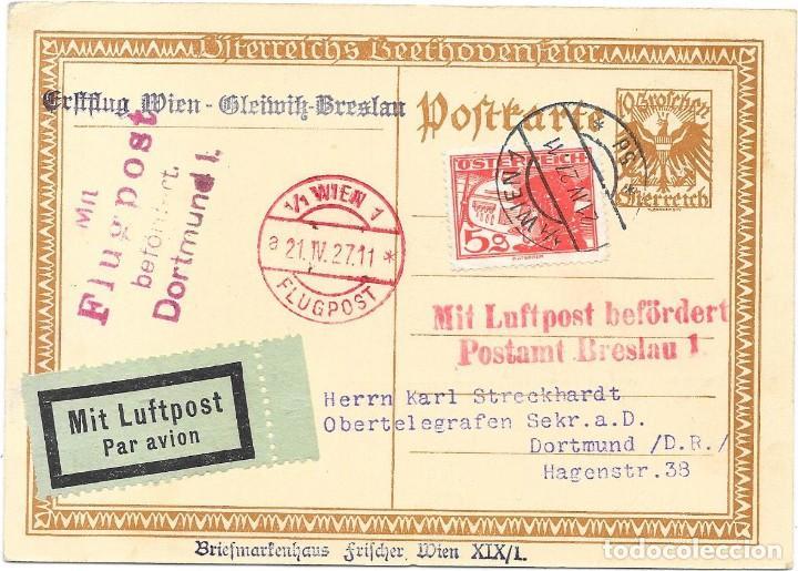 PRIMER VUELO VIENA A BRESLAU EN 1927 SOBRE UN ENTERO POSTAL DE BEETHOVEN (Sellos - Temáticas - Varias)