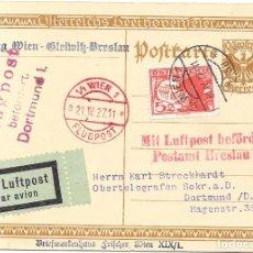 Sellos: PRIMER VUELO VIENA A BRESLAU EN 1927 SOBRE UN ENTERO POSTAL DE BEETHOVEN. Lote 190533507