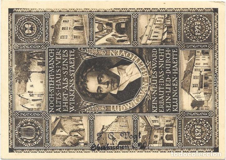 Sellos: PRIMER VUELO VIENA A BRESLAU EN 1927 SOBRE UN ENTERO POSTAL DE BEETHOVEN - Foto 2 - 190533507