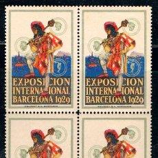 Sellos: VIÑETA DE LA FERIA DE BARCELONA 1929, NUEVA ***, BLOQUE DE 4. Lote 191041796