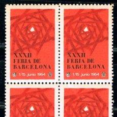 Sellos: VIÑETA DE LA FERIA DE BARCELONA 1964, NUEVA *** EN BLOQUE DE 4. Lote 191043345