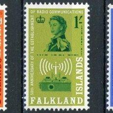Sellos: FALKLAND 1962 IVERT 137/39 *** 50º ANIVERSARIO DE LAS RADIO-COMUNICACIONES. Lote 191586123