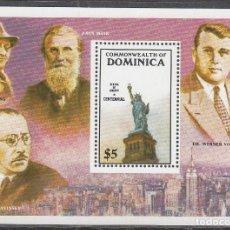 Sellos: DOMINICA Nº 963, CENTº DE LA ESTATUA DE LA LIBERTAD, FRITZ LANG, STRAVINSKY, HOJA BLOQUE NUEVA ***. Lote 191906722