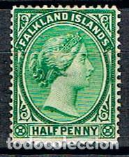 ISLAS MALVINAS Nº 8 (AÑO 1891), REINA VICTORIA DE INGLATERRA, NUEVO CON SEÑAL DE CHARNELA (Sellos - Extranjero - América - Otros paises)