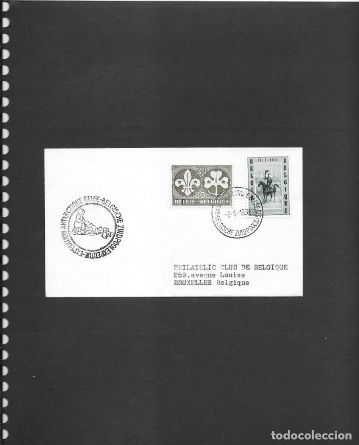 BELGICA ANTARTIDA CIRCULADA DESDE BASE BELGA AÑO 1958 , LLEVA DOS VIÑETAS AL DORSO (Sellos - Temáticas - Varias)