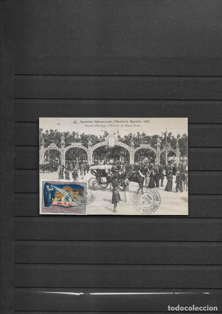 FRANCIA 1908 ELECTRICIDAD POSTAL CON VIÑETA Y MATASELLADO EXPOSICION . ELECTRICIDAD AÑO 1908 (Sellos - Temáticas - Varias)