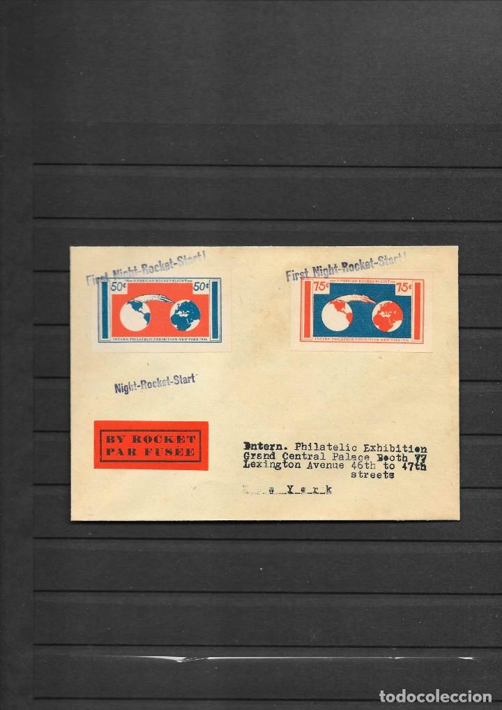 ESTADOS UNIDOS 1936 SOBRE POR COHETE POSTAL VUELO DE NOCHE CON DOS SELLOS SIN DENTAR ESPECIALES (Sellos - Temáticas - Varias)