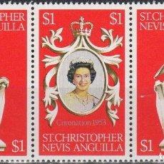 Sellos: SAN CRISTOBAL 1978 IVERT 376/78 *** 25º ANIVERSARIO DE LA CORONACIÓN DE S.M. ISABEL II. Lote 193726431