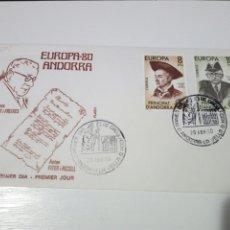 Sellos: ANTIGUO SOBRE CON SELLOS EUROPA 80. ANDORRA. 1°DIA DE CIRCULACION.. Lote 194236172