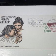 Sellos: ANTIGUO SOBRE CON SELLO CENTENARIO HELEN KELLER. 1°DIA DE CIRCULACION. .. Lote 194237150