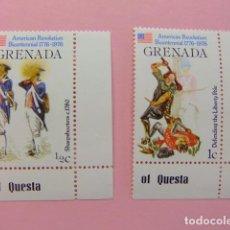 Sellos: GRENADE GRENADA 1976 SOLDADOS - 200 INDEPENDENCIA DE LOS ESTADOS UNIDOS YVERT 667+ 668 ** MNH. Lote 194238341