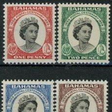 Sellos: BAHAMAS 1959 IVERT 163/66 *** CENTENARIO DEL SELLO DE BAHAMAS - ISABEL II. Lote 194506445