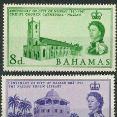 Sellos: BAHAMAS 1962 IVERT 167/68 * CENTENARIO DE NASSAU CAPITAL DE BAHAMAS - CATEDRAL DE NASSAU. Lote 194506847