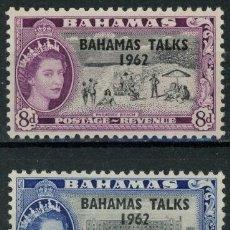 Sellos: BAHAMAS 1963 IVERT 170/71 *** CONFERENCIA DE NASSAU - ISABEL II. Lote 194507170