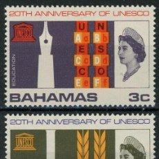 Sellos: BAHAMAS 1966 IVERT 238/40 * 20º ANIVERSARIO DE LA U.N.E.S.C.O. - ISABEL II. Lote 194508250