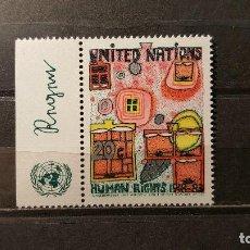 Sellos: NUEVO NACIONES UNIDAS. OFICINA N. YORK. ANIVº D. DERECHOS HUMANOS. 9 DICIEMBRE 1983. YVERT 406.. Lote 194519635