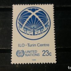 Sellos: NUEVO NACIONES UNIDAS. OFICINA N. YORK. CENTRO O. TRABAJO TURIN. 1 FEBRERO 1985. YVERT 434.. Lote 194544046