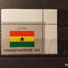 Sellos: NACIONES UNIDAS. OFICINA N. YORK. BANDERA GHANA. 22 NOVIEMBRE 1985. YVERT 453.. Lote 194553110