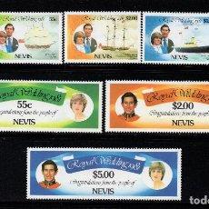 Sellos: NEVIS 65/70** - AÑO AÑO 1981 - BARCOS - BODA DEL PRÍNCIPE CHARLES Y DIANA SPENCER. Lote 194600566