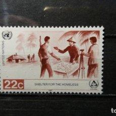 Sellos: SELLO USADO NACIONES UNIDAS. OFICINA N. YORK. AÑO DE LOS SIN TECHO. 13 MARZO 1987. YVERT 488.. Lote 194660605