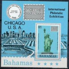 Sellos: BAHAMAS 1986 HB IVERT 46 *** AMERPEX-86 - EXPOSICIÓN FILATÉLICA INTERNACIONAL EN CHICAGO. Lote 194670991