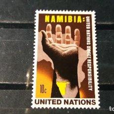 Sellos: SELLO NUEVO NACIONES UNIDAS. OFICINA N. YORK. SOLIDARIDAD CON NAMIBIA. 22 SEPTIEMBRE1975. YVERT 255.. Lote 194725351