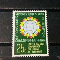 Sellos: SELLO NUEVO NACIONES UNIDAS. OFICINA N. YORK. CONF. ASENT. HUMANOS. 28 MAYO 1976. YVERT 268.. Lote 194732157