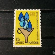 Sellos: SELLO NUEVO NACIONES UNIDAS. OFICINA N. YORK. CONF. INTERN. AGUA. 22 ABRIL 1977. YVERT 275.. Lote 194745867