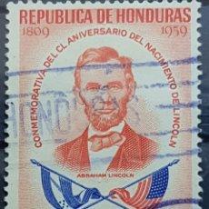 Sellos: HONDURAS_SELLO USADO_150 ANIVERSARIO ABRAHAM LINCOLN 15C_YT-HN PA272 AÑO 1959 LOTE 8211. Lote 194779692