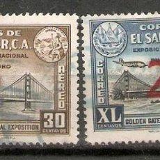 Sellos: EL SALVADOR.1943-44. CORREO AÉREO A 75/76. Lote 194962883