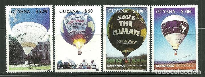 GUAYANA 1996 *** 25º ANIVERSARIO DE GREEN PEACE - GLOBOS (Sellos - Extranjero - América - Otros paises)