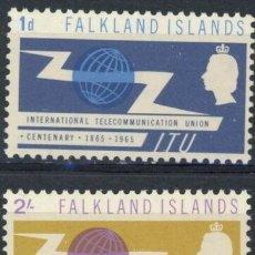 Sellos: FALKLAND 1964 IVERT 148/49 * CENTENARIO DE LA U.I.T. - UNIÓN INTERNACIONAL DE TELECOMUNICACIONES. Lote 196524466