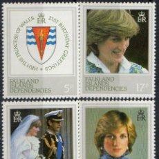 Sellos: FALKLAND DEPENDENCIAS 1982 IVERT 111/4 *** 21º ANIVERSARIO DE LA PRINCESA DE GALLES DIANA SPENCER. Lote 196526987