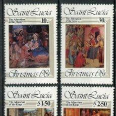 Sellos: SANTA LUCIA 1981 IVERT 555/8 *** NAVIDAD - PINTURA RELIGIOSA - LA ADORACIÓN DE LOS MAGOS. Lote 196995450