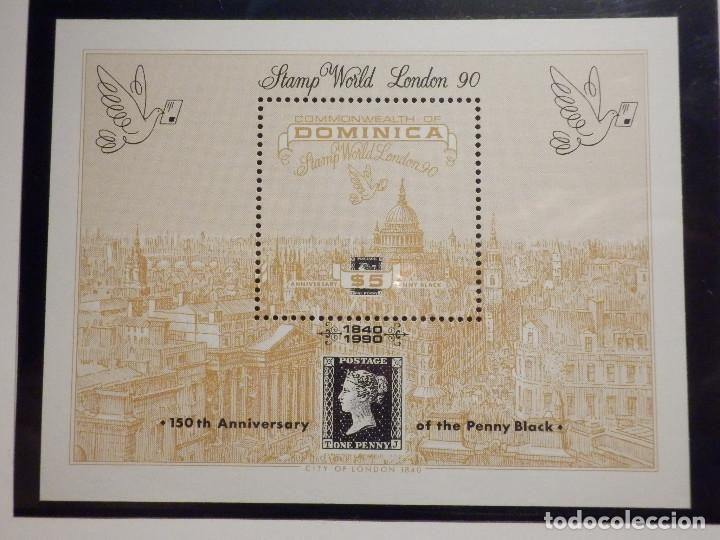 Sellos: Hojita + 3 Sellos - Commonwealth of Dominica - Stamp World London 90 - Nuevos - Año 1990 - Foto 2 - 203957511