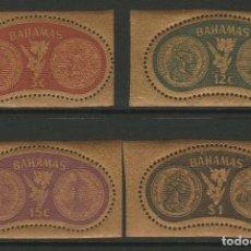 Sellos: BAHAMAS 1968 - PRIMERAS ELECCIONES - MONEDAS - YVERT Nº 273/276** SELLOS EN DORADO. Lote 206446731