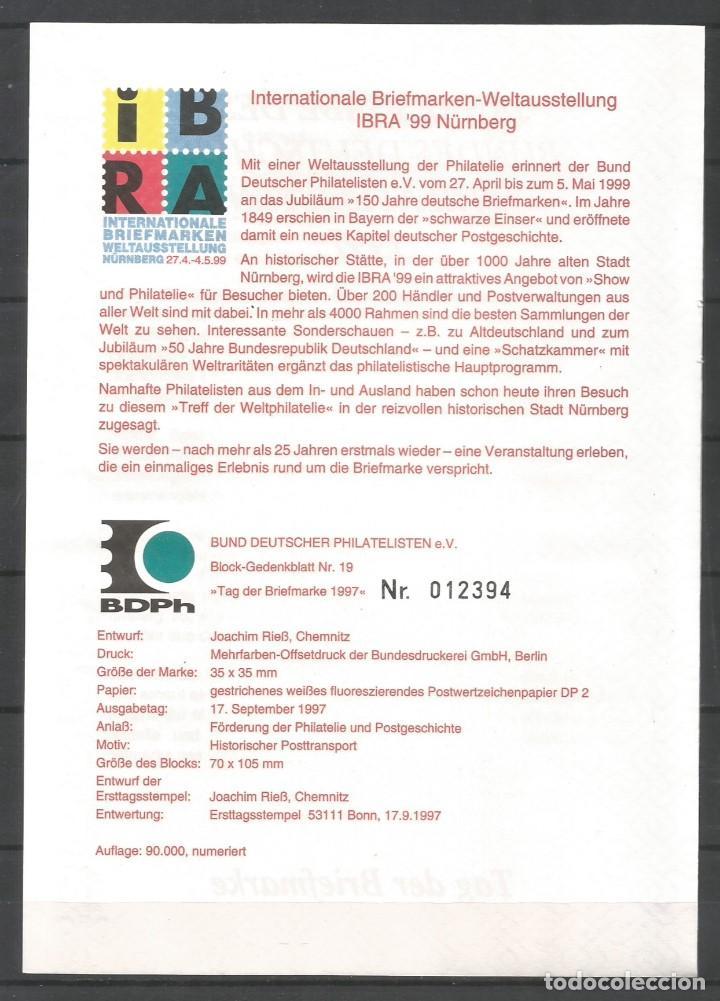 """Sellos: ALEMANIA FEDERAL 1997. """"EDICIÓN ANUAL DE LA FEDERACIÓN DE FILATELISTAS ALEMANES"""" - Foto 2 - 209046948"""