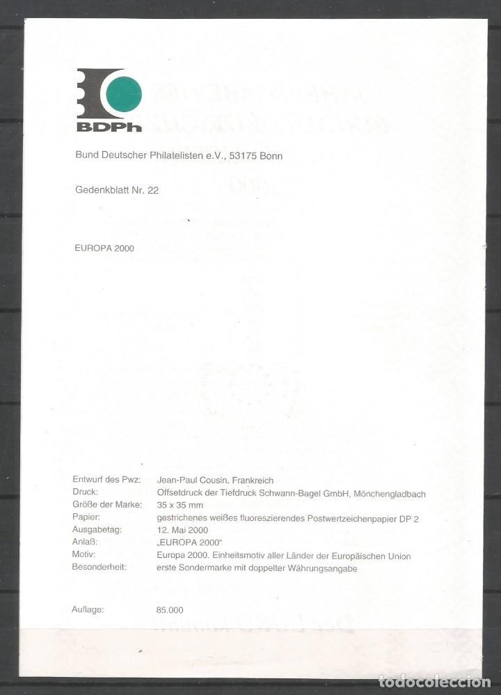 """Sellos: ALEMANIA FEDERAL 2000. """"EDICIÓN ANUAL DE LA FEDERACIÓN DE FILATELISTAS ALEMANES"""" - Foto 2 - 209048520"""