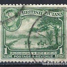 Selos: GUAYANA BRITÁNICA 1938-52 - ARROZAL Y JORGE VI - SELLO USADO. Lote 209350466