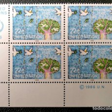 Sellos: ONU (NUEVA YORK). 465 AÑO INTERNACIONAL DE LA PAZ: ÁRBOL Y PALOMAS, EN BLOQUE DE CUATRO. 1986. SELLO. Lote 211261052