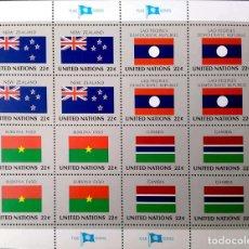 Sellos: ONU (NUEVA YORK). 467/70 BANDERAS: NUEVA ZELANDA, LAOS, BURKINA FASO, GAMBIA EN MH DE 4 BLOQUES DE C. Lote 211261149