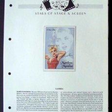 Sellos: GAMBIA HOJA BLOQUE DE SELLOS DE LA FAMOSA ACTRIZ MARILYN MONROE- LEYENDAS DE HOLLYWOOD. Lote 212277806