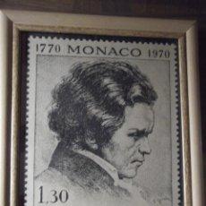 Sellos: SEGUNDO CENTENARIO DE LUDWIG VAN BEETHOVEN (SELLO 1770 MONACO 1970 ) 35 X 29 CM C/ CRISTAL. Lote 218581183