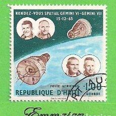 Sellos: HAITI - MICHEL 872 - YVERT PA333 (333) - ENCUENTRO ESPACIAL GEMINIS VI - GEMINI VII - AÉREOS. (1966). Lote 218824882