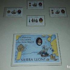 Sellos: SIERRA LEONE. 4 SELLOS + PLAN DESCUBRIMIENTO DE AMÉRICA 1987 - 2. EN HOJA FILABO. SIN CIRCULAR. DANI. Lote 219108787