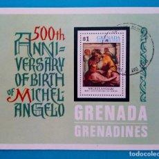 Sellos: HOJITA SELLOS POSTALES GRANADA 1975 - 500 ANIVERSARIO DEL NACIMIENTO DE MIGUEL ANGEL (PRIMER DIA). Lote 220553866
