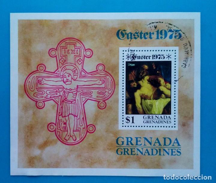 HOJITA SELLOS POSTALES GRANADA 1975 - EASTER (PRIMER DÍA DE EMISION) (Sellos - Extranjero - América - Otros paises)