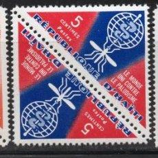 Sellos: HAITI/1962/MNH/SC# 486, 488, C190/WHO ERRADICACION DE LA MALARIA / PALUDISMO / SALUD. Lote 235994375